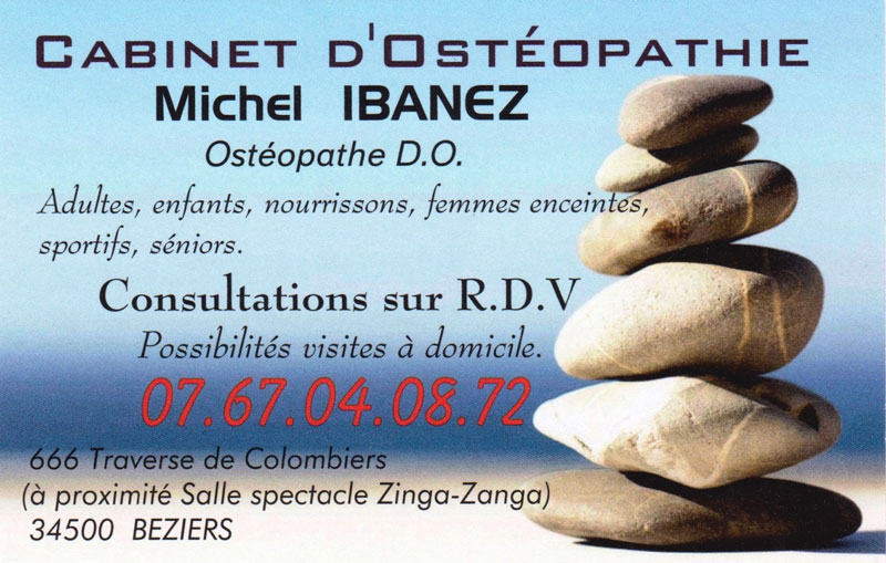Carte Visite Osteopathe Beziers